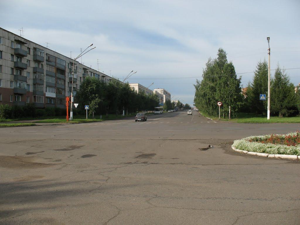 проспект Победы, вид от Мемориала, Юрга