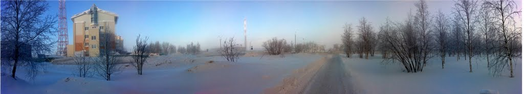 Панорама. Зима. Минус 41 градус Цельсия., Усинск