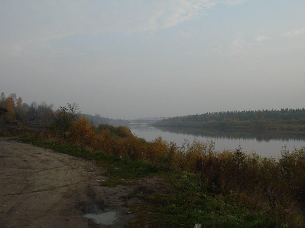 Унжа вид на мост осень 2008, Мантурово