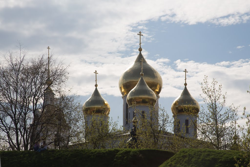Дмитров: Купола Успенского собора из-за кремлевского вала  Cathedral of the Assumption, Дмитров