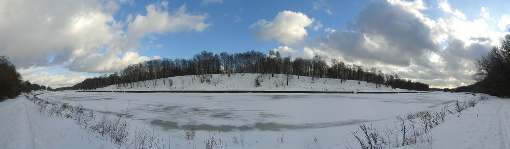 Winter panorama of Moscow Channel, Старбеево