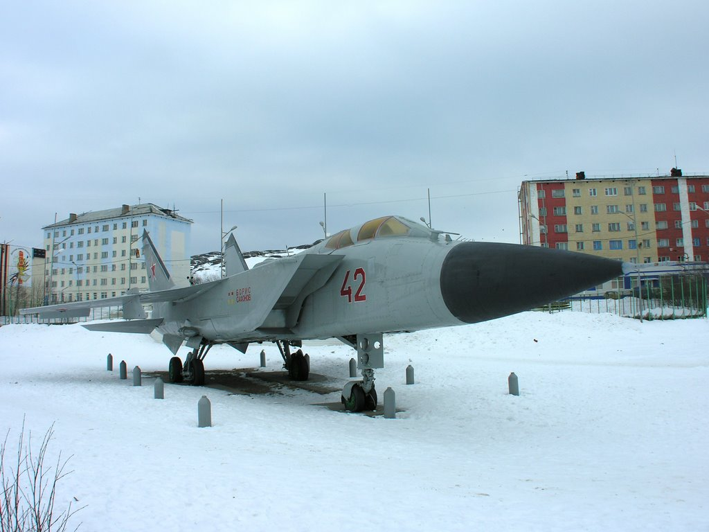 """Mikoyan MiG-31 as monument to heroes of a novel """"The Two Captains"""" by Veniamin Kaverin, Полярный"""