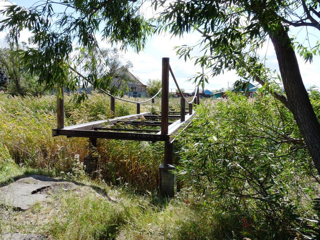заброшенный мостик через пруд, Павлоградка