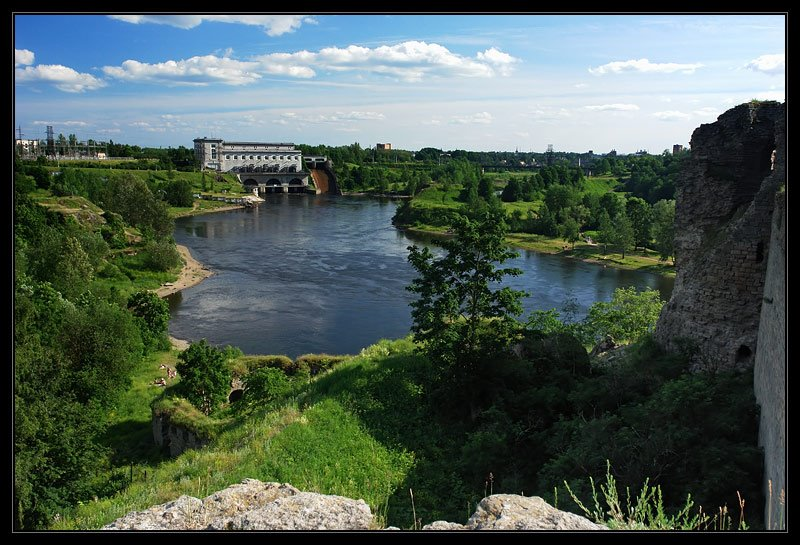 река Нарова. Вид сверху, Ивангород