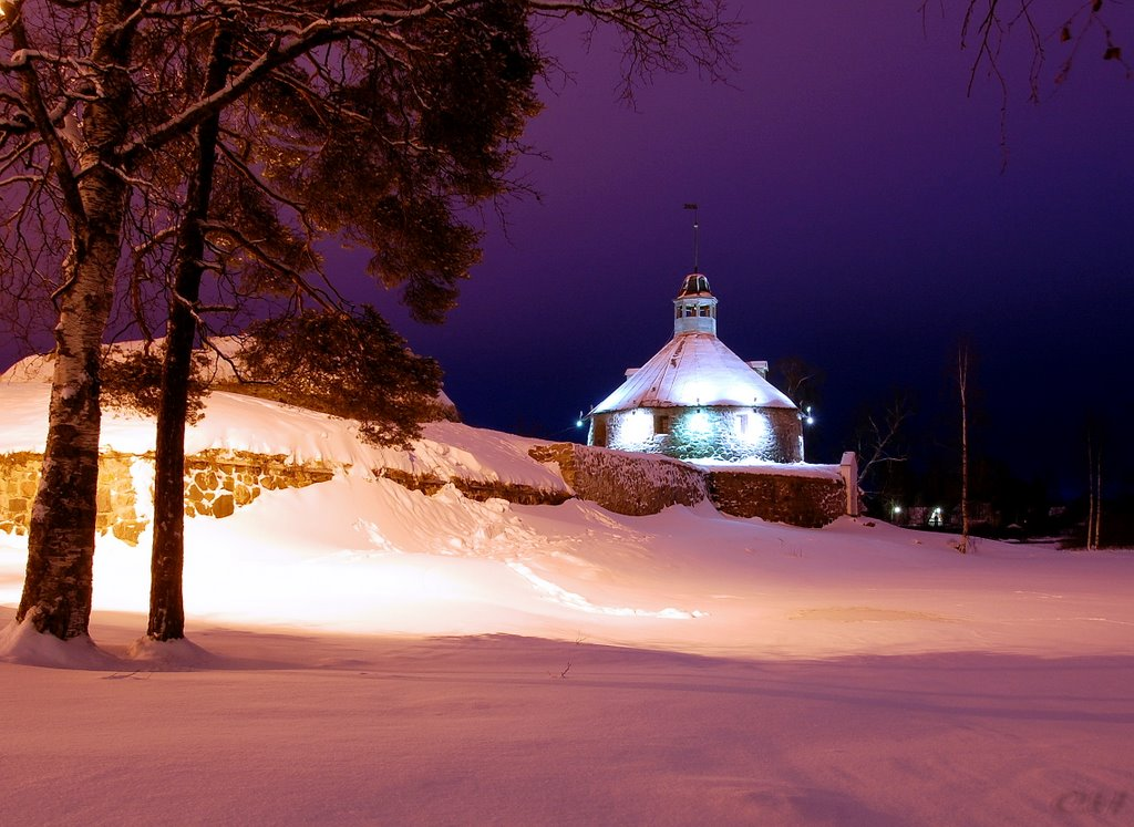 Приозерск. Крепость Корела зимней ночью, Приозерск