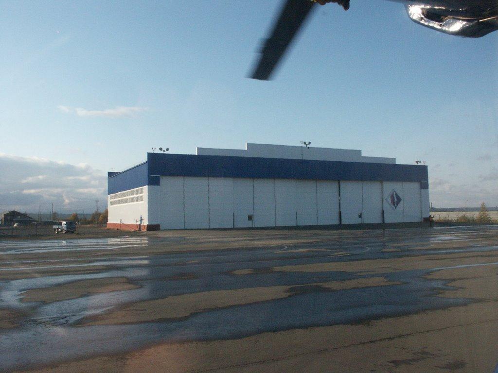 Exxon Neftegaz hangar in Nogliki airport, Sakhalin Island, Ноглики