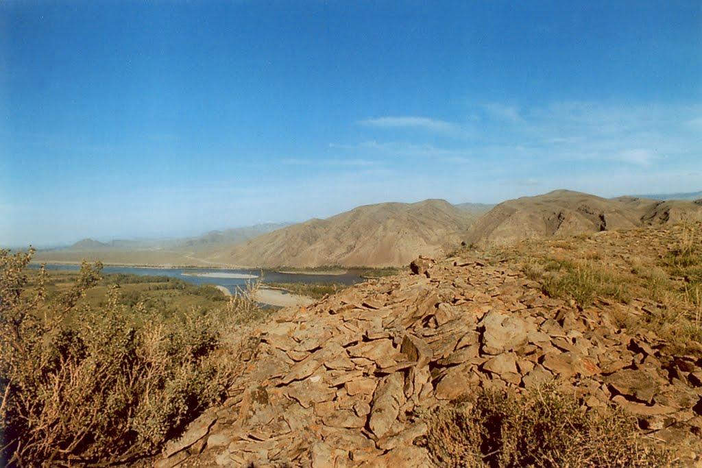 Remains of Uyghur fortress at hill near Ust-Elegest village, Суть-Холь