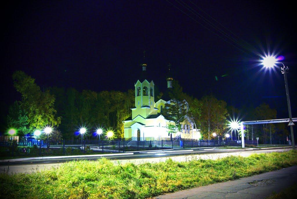 храм в свете ночи church in light of the night, Николаевск-на-Амуре
