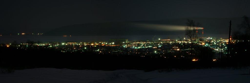 ночной вид города со Свидеры, Николаевск-на-Амуре