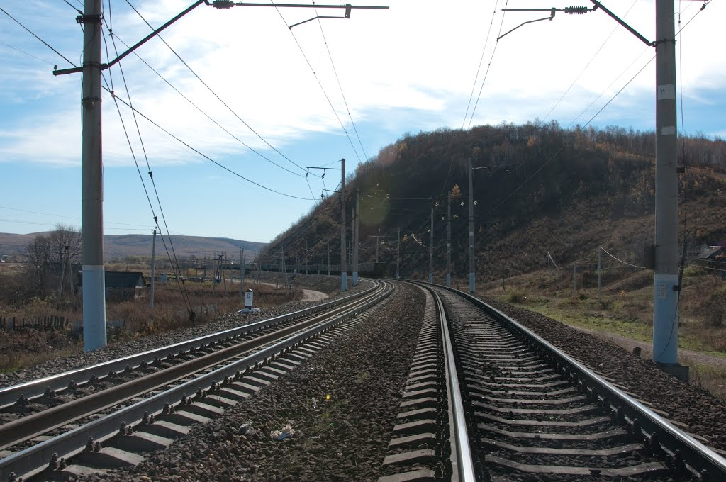Obluchye (2012-10) - Crossing the railway, Облучье