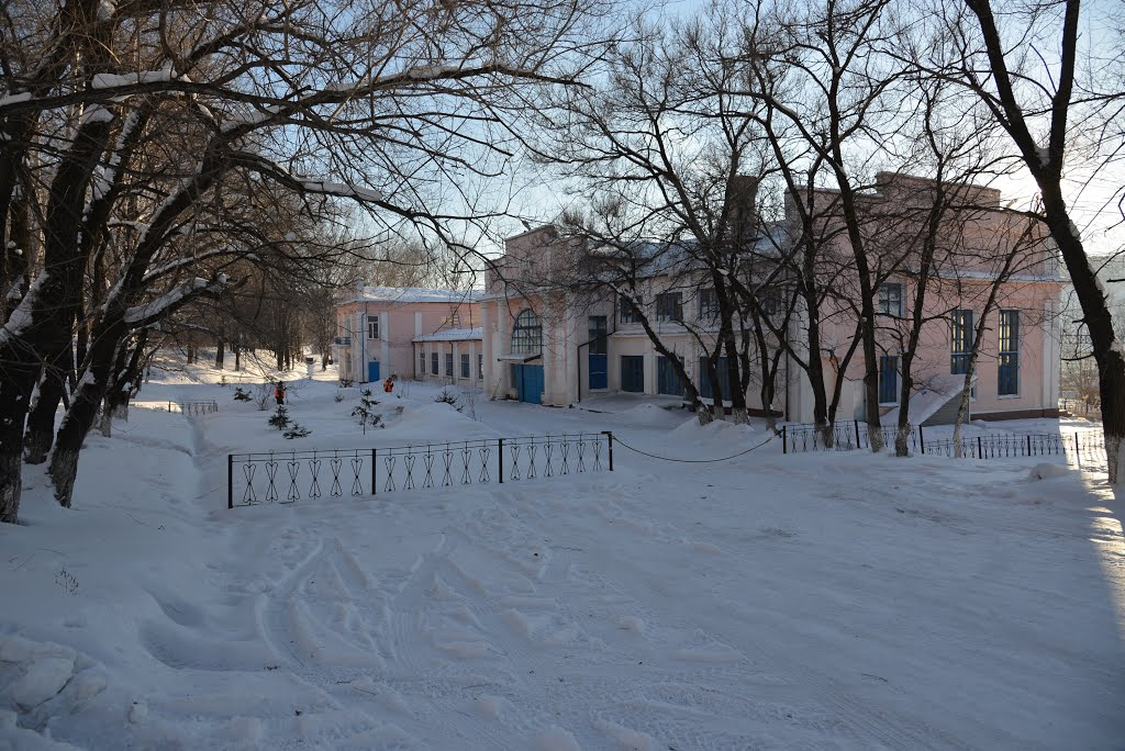 Obluchye (2013-02) - Train station in winter from street side, Облучье