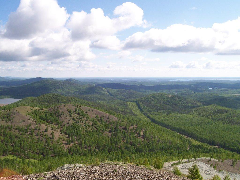 lЗолотая гора, вид на озеро Увильды / Gold mountain, look on lake Uvildy, Карабаш