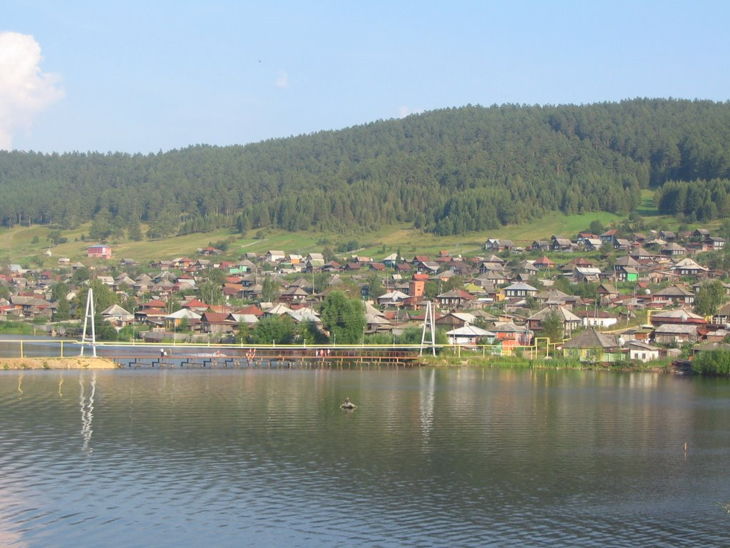 Вид с городского парка на район запруда, Куса