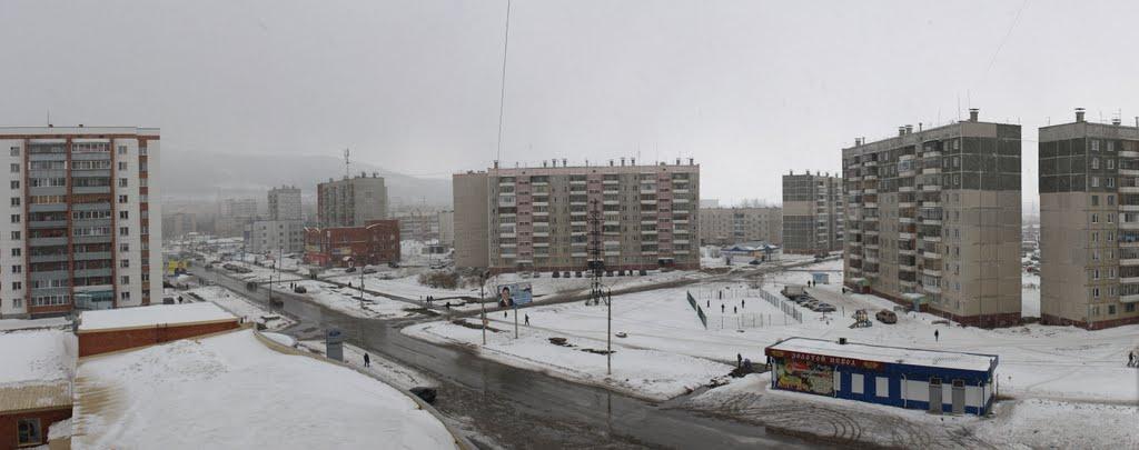 Миасс, р-н Комарово. Март 2010. Панорама. / Miass, Komarovo district. March 2010. Panorama., Миасс