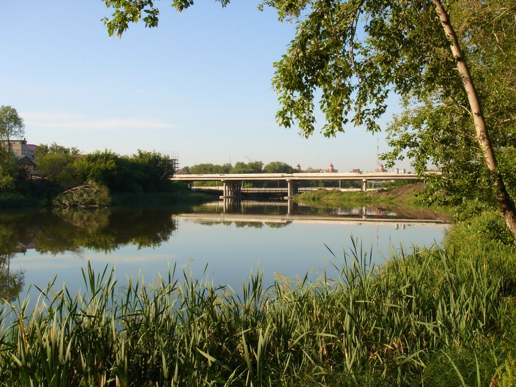 Miass river, new brige under construction, Челябинск