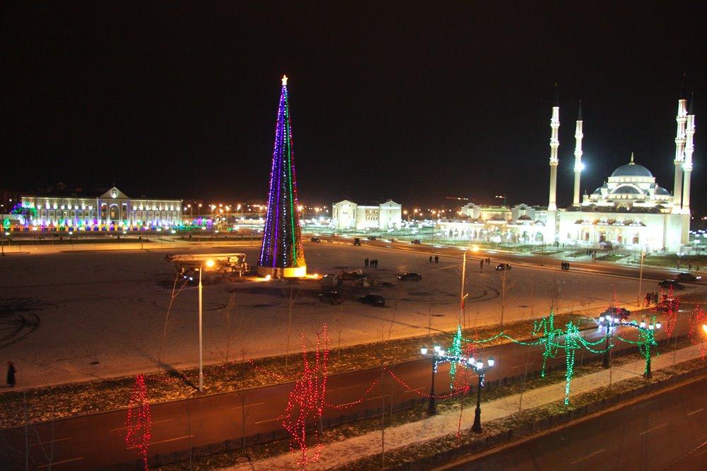 Grozny at night, Грозный