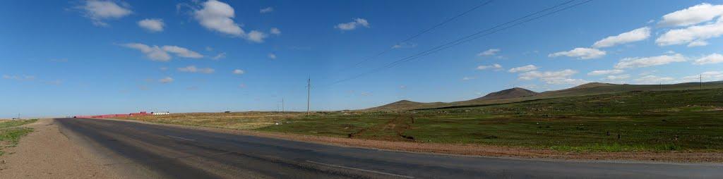 Дорога и сопки, Забайкальск,  23.11.2011, Забайкальск