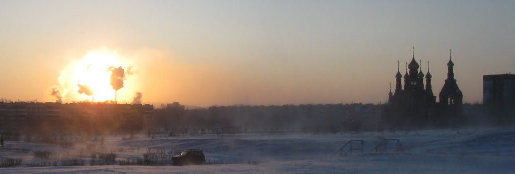 Зима утро вспышка на солнце, Краснокаменск