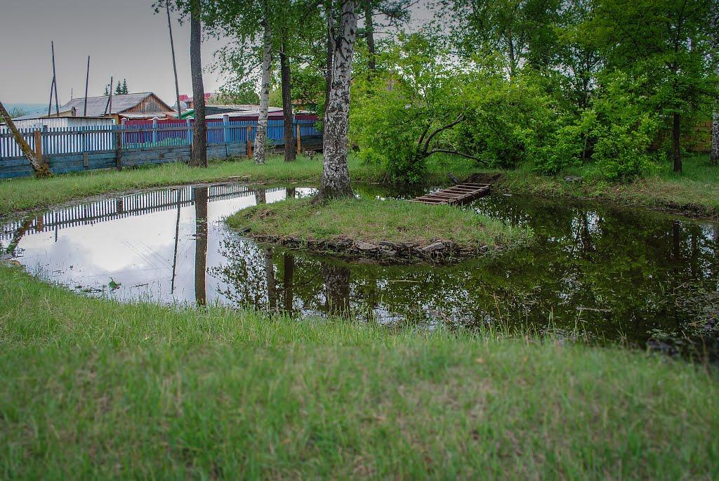 Пруд в парке., Красный Чикой