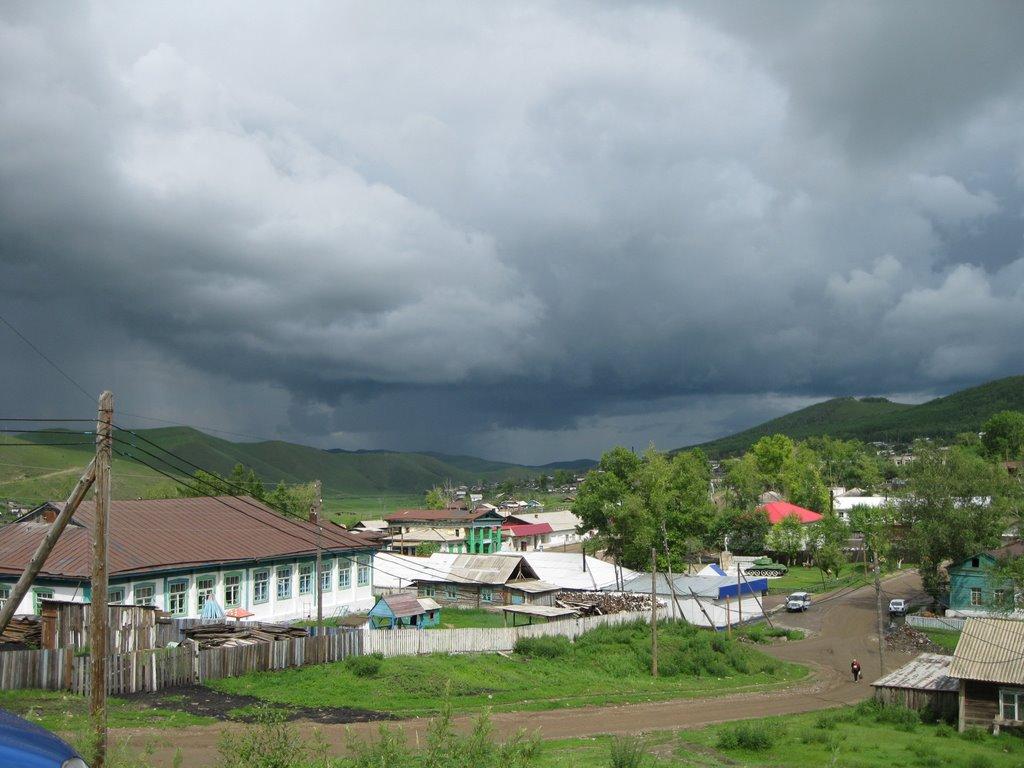 Вид от казначейства в сторону бывшего аэропорта, Нерчинский Завод