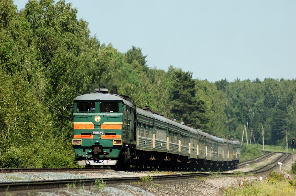 Тепловоз 2ТЭ10М-2542 с пассажирским поездом, Шемурша