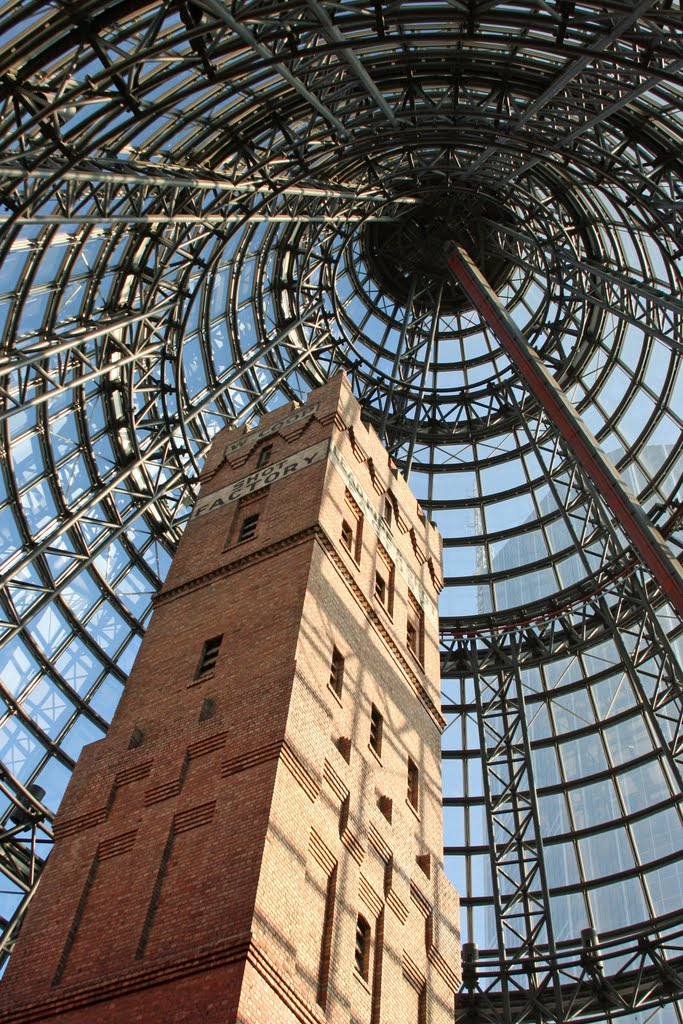 Coops Shot Tower encased by the Melbourne Central cone, Мельбурн