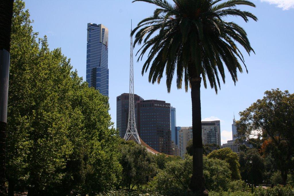 Eureka building from Botanical Gardens, Мельбурн