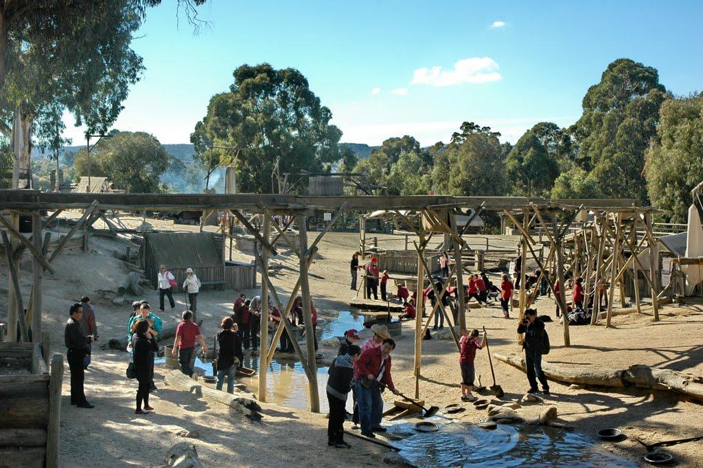 墨尔本疏芬山金矿淘金溪流 The gold diggings creek,Sovereign Hill,Ballarat,Victoria, Балларат