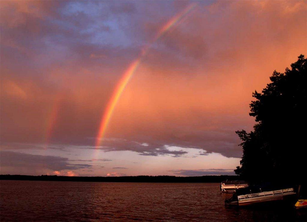 Double rainbow at Lake Dubay Wisconsin, Ракин