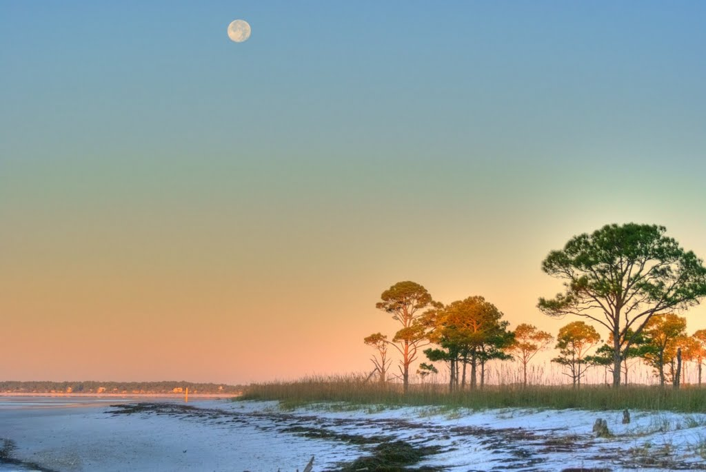 Moonset over Alligator Point. 月はわにポイントに置いた。, Аттапулгус