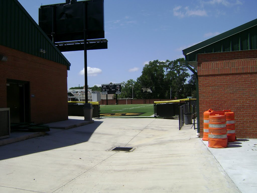 Looking in from the service entrance at Bazemore-Hyder Stadium, Валдоста