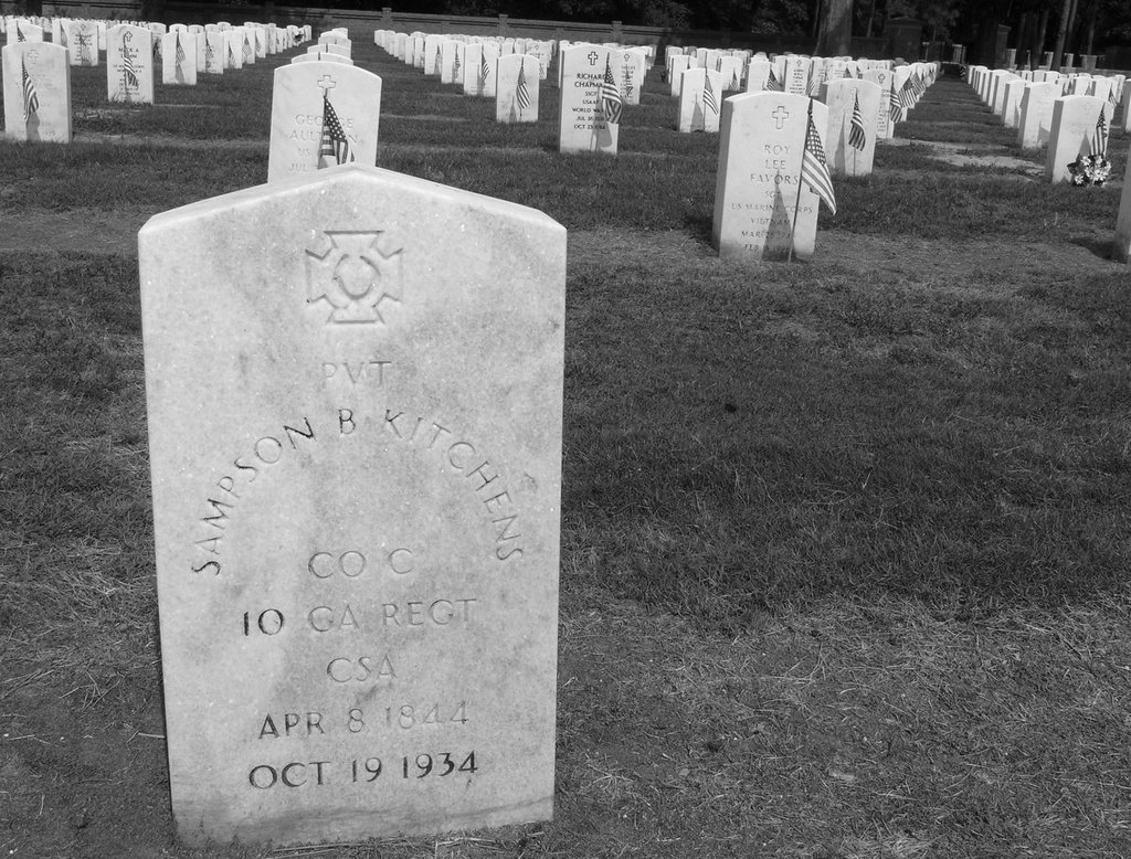 Private Sampson B. Kitchens, the only Confederate soldier to be buried at Andersonville Cemetery.  God rest his soul, Варнер-Робинс