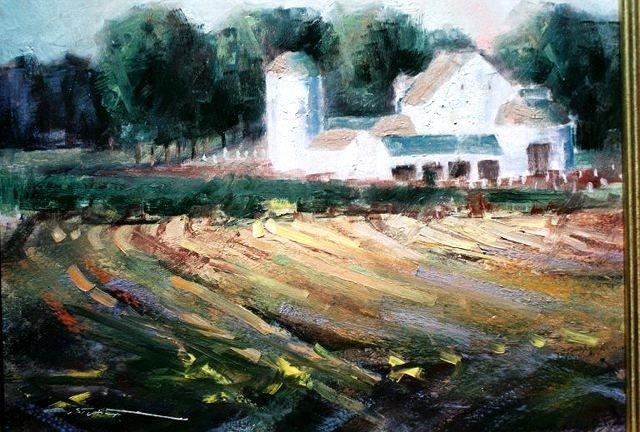 Chris Stuart oil of Traders Point Farm barn, Счерервилл