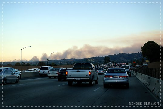 OC fire 11-15-08 view from I-60, Ла-Пуэнте