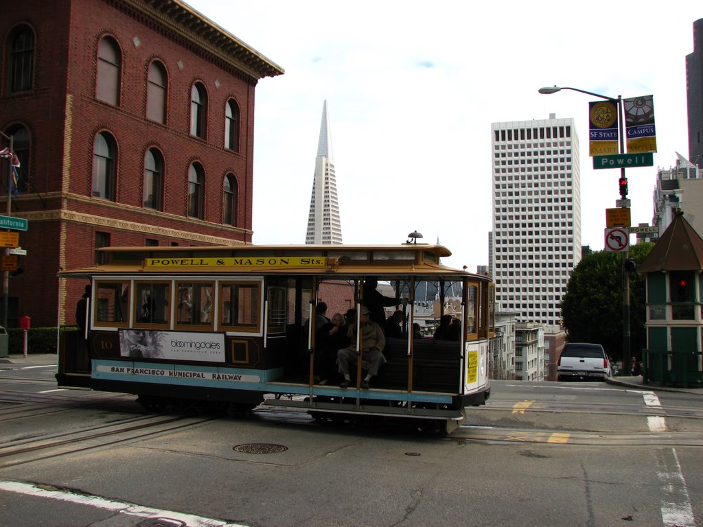 Street car, cable car intersection sanfran,, Сан-Франциско