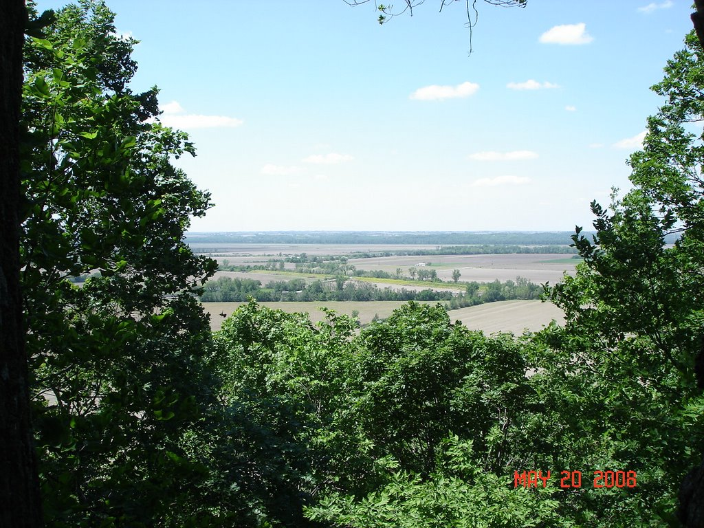 Bluffwoods Conservation Area Turkey Ridge Trail looking west across Missouri River valley, Олбани (Генри Кантри)