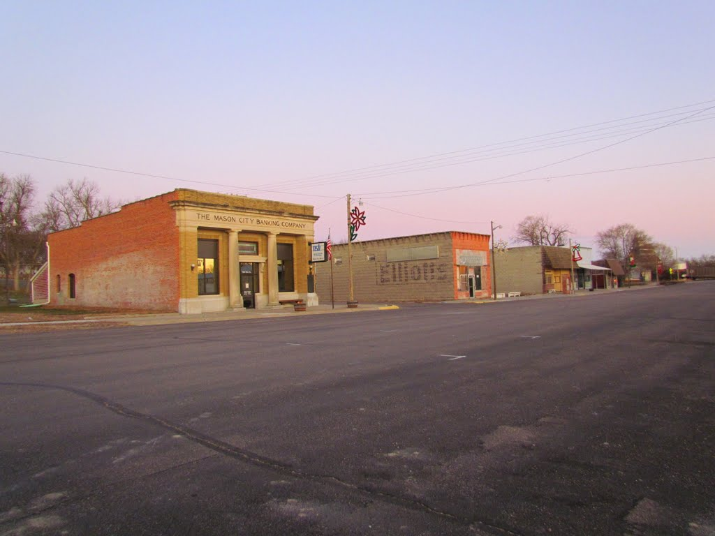 Viewing north-westerly at the Mason City, Nebraska business district from Main St., near its intersection with Crawford St., Скоттсблуфф