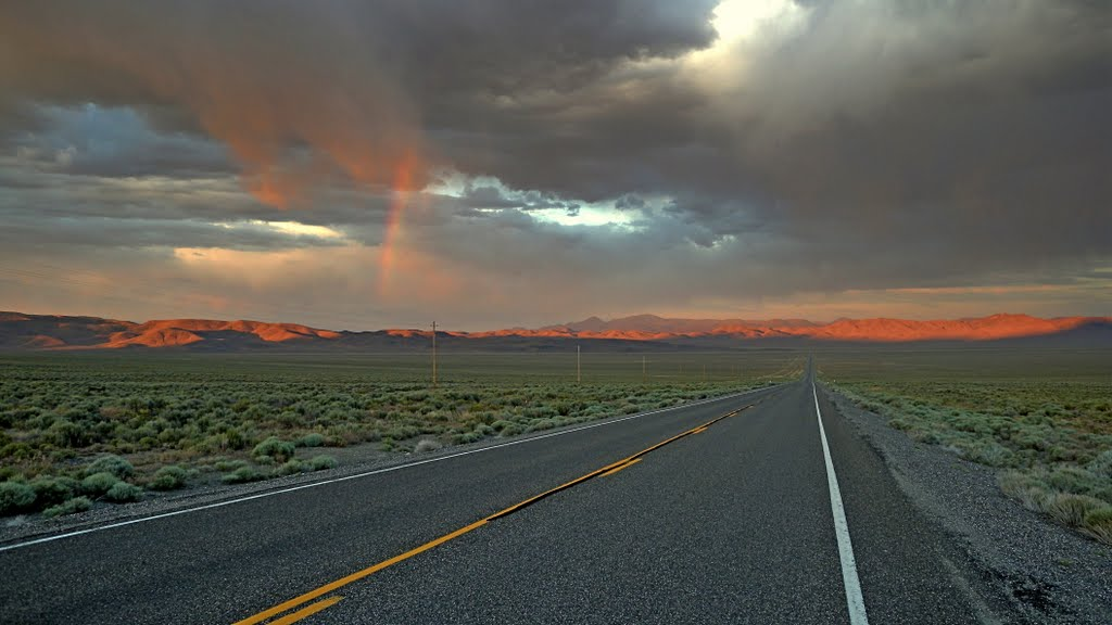 Rainbow, U.S. Route 50 looking toward Hickison Summit, Хавторн