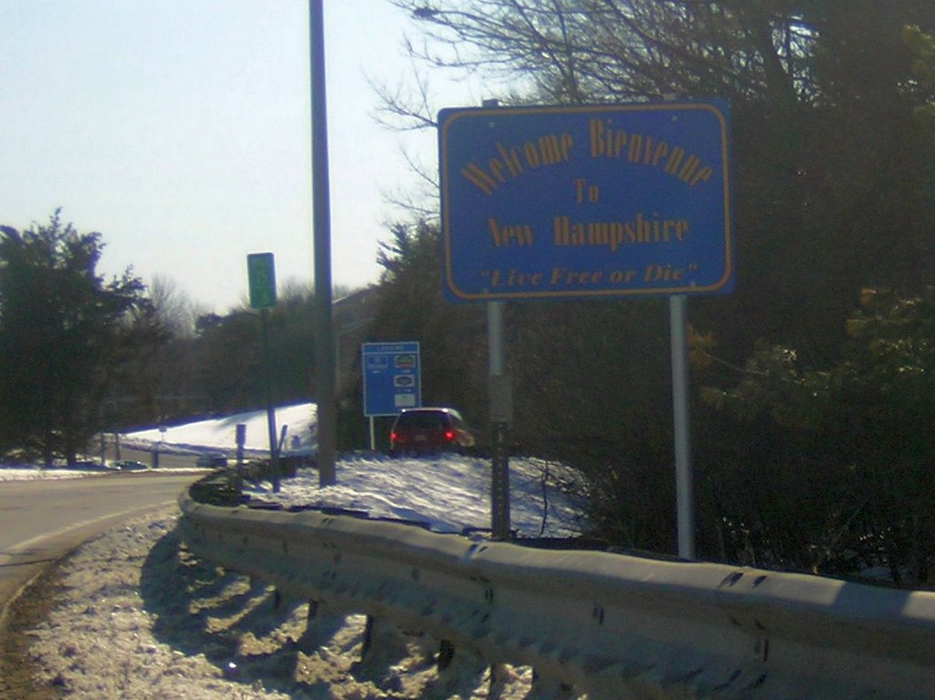 Welcome To New Hampshire Sign, I-95 Exit 7, 2-21-2009, Портсмоут