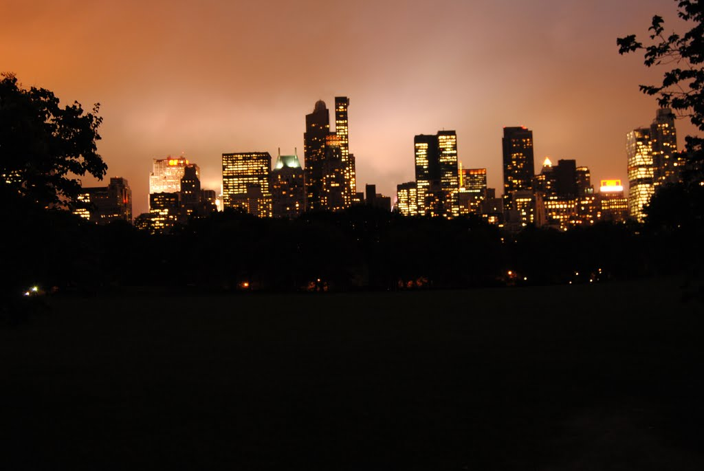 New York at night, from Central Park - NYC - USA, Манхаттан