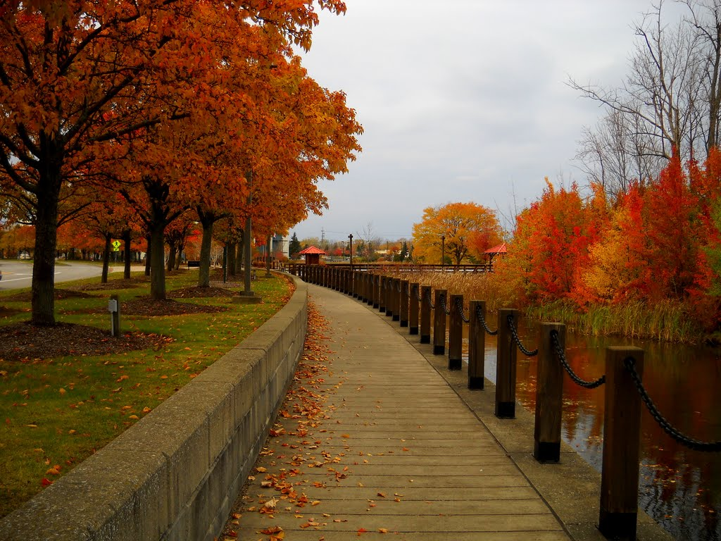 Beautiful Indian Summer Day in November on Canal Landing Blvd, Greece, NY, Норт-Гейтс