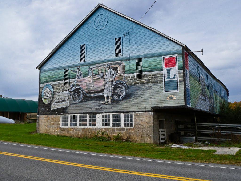 Barn mural on the Lincoln Highway near Schellsburg, PA, Пайнт