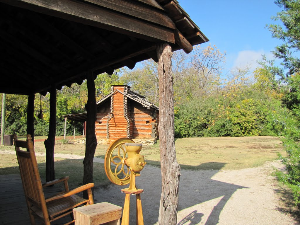 Grist Mill and rocker on porch; log cabin in background, Фармерс-Бранч