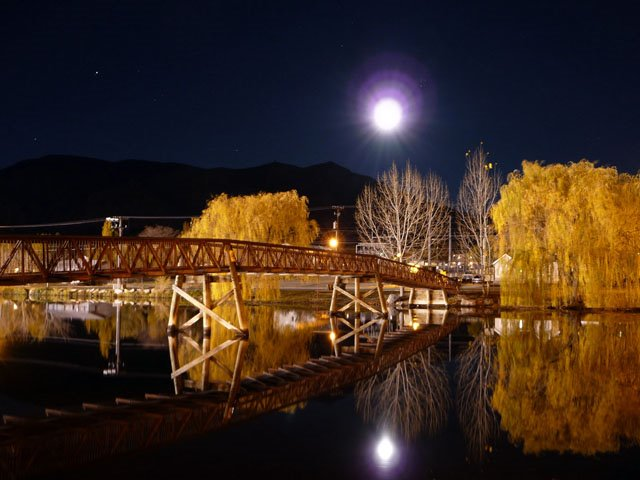 Pioneer Park With A Full Moon Late Fall., Бригам-Сити