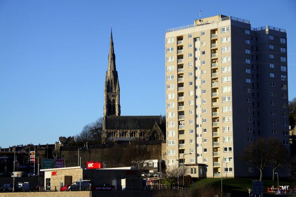 All Souls Church by Sir George Gilbert Scott on Haley Hill + KFC - Kentucky Fried Chicken, Halifax, UK - (MT), Халифакс