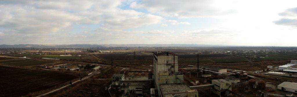 Panorama of Kolhozobod from roof of flourmill.Viloyati Khatlon, Tajikistan., Колхозабад