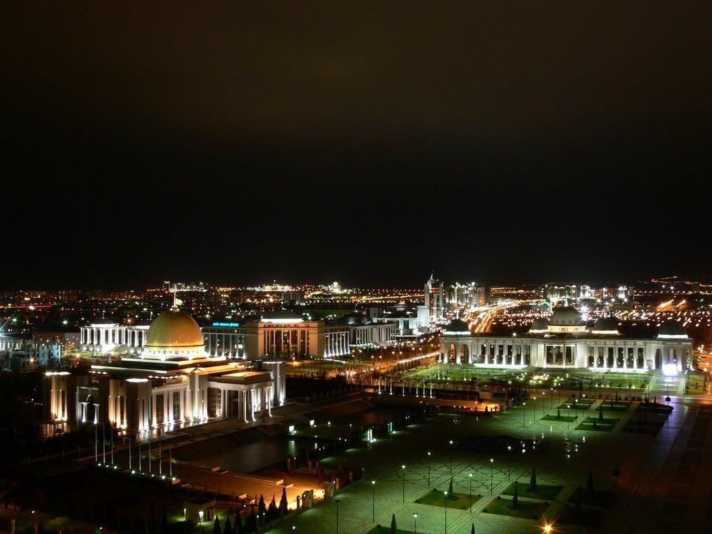 Центр города ночью, Ашхабад
