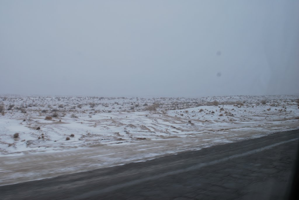 Qaraqum Desert in snow, Кум-Даг