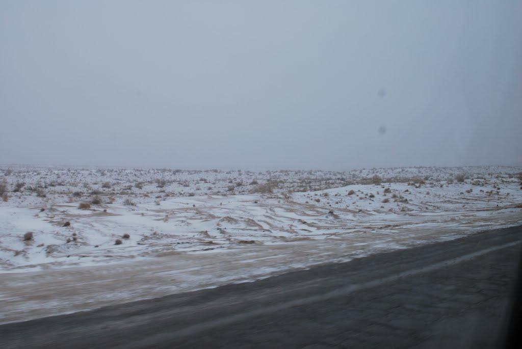 Qaraqum Desert in snow, Небит-Даг