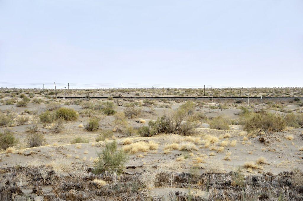 土库曼卡拉库姆沙漠,前景是固沙的草方格沙障,远景是沙漠铁路 Karakum Desert,Turkmenistan, Захмет
